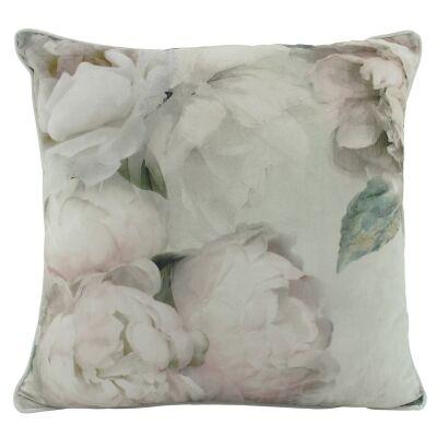 White Peony Velvet Scatter Cushion