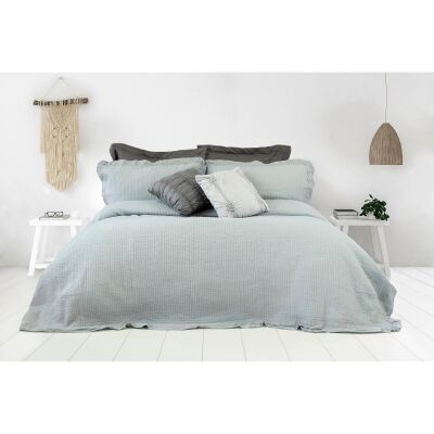 Flinders 3 Piece Washed Cotton Coverlet Set, 240x200cm, Grey