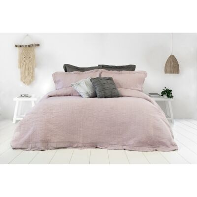 Flinders 3 Piece Washed Cotton Coverlet Set, 240x200cm, Light Mauve