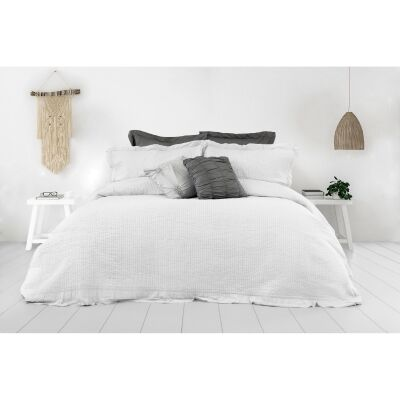 Flinders 3 Piece Washed Cotton Coverlet Set, 240x200cm, White