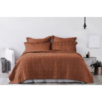 Ardor Harley Washed Cotton Coverlet Set, Quee / King, Brick