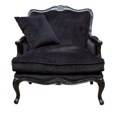 Issabelle Fabric French Armchair, Black Velvet