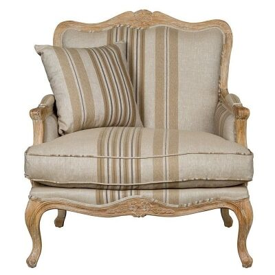 Issabelle Fabric French Armchair, Striped