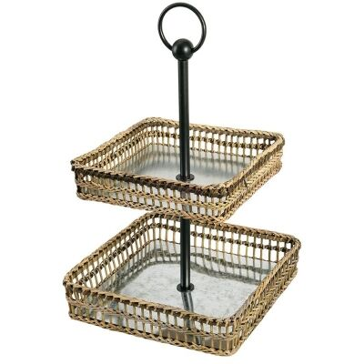 Lavelle Metal and Bamboo Rattan 2 Tier Square Tray