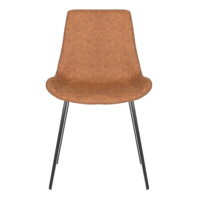 Cleo Commercial Grade Faux Leather Dining Chair, Tan