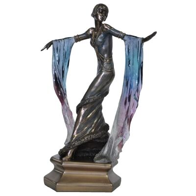 Cast Bronze Dancer Figurine, Dancing with Blue Shawl