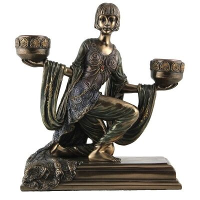 Veronese Cold Cast Bronze Coated Lady Figurine / Candle Holder