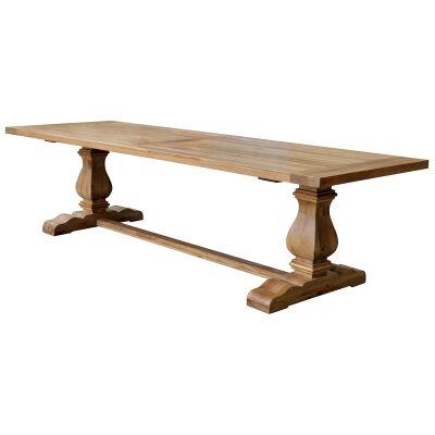 Rimini Oak Timber Trestle Dining Table, 240cm, Natural