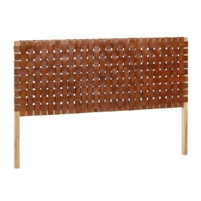 Apia Leather & Teak Timber Bed Headboard, Queen