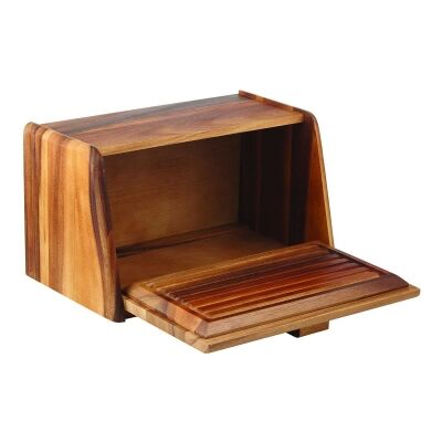Davis & Waddell Acacia Timber Bread Box with Bread Board Lid