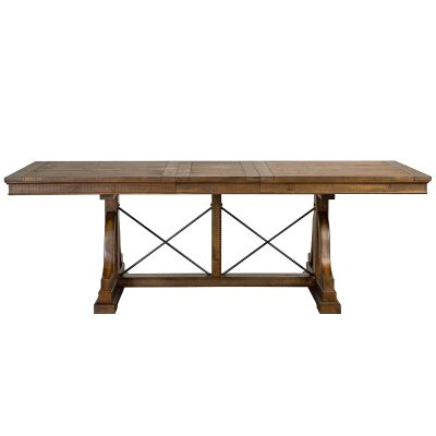 Bay Creek Timber Extensible Trestle Dining Table, 183-228cm