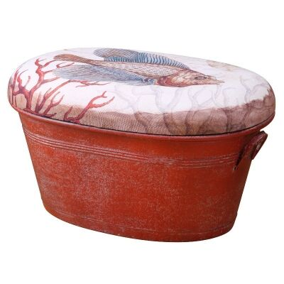Metal Bucket Stool with Ancient Fish Fabric Cushion Seat