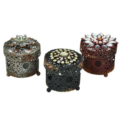 Set of 3 Floral Metal Jewellery Boxes