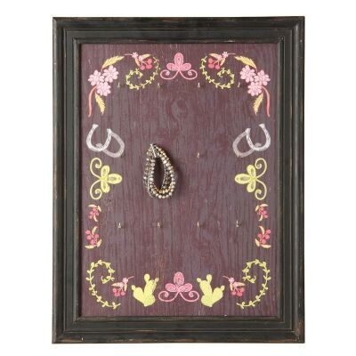 Kalamata Pine Wall Plaque with 16 Metal Hooks - 53cm