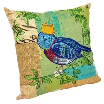 Patchwork Cotton Cushion with Embroidery - Bird