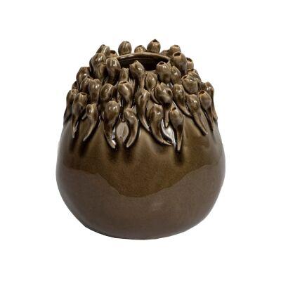 Lena Barnacle Ceramic Vase, Medium, Olive