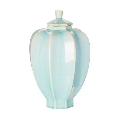 Skye Ceramic Fluted Jar, Small, Light Blue