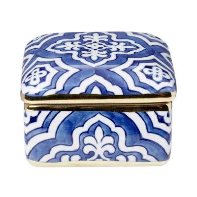 Tangier Ceramic Square Trinket Box