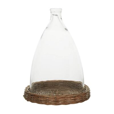 Figi Glass Cloche with Rattan Base, Large