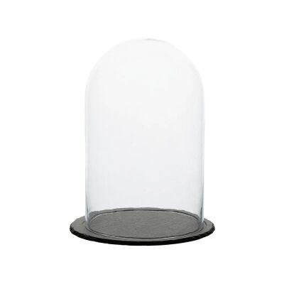 Milla Glass Cloche with Slate Base, Small