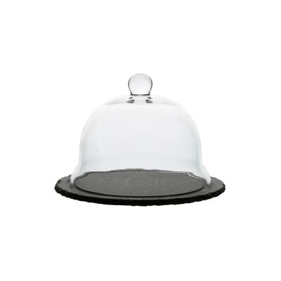 Lucia Glass Clochewith Slate Base, Small
