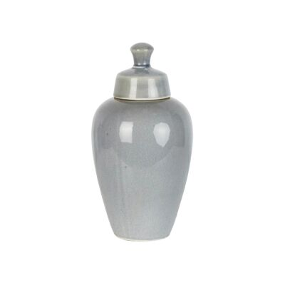 Harbor Ceramic Round Ginger Jar, Large, Pearl Grey