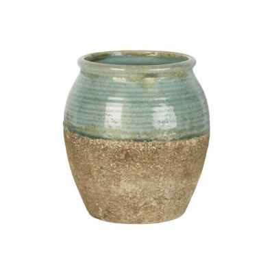 Tuscan Ceramic Pot, Small, Sage / Clay