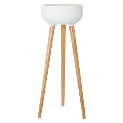 Zubi Tripod Planter Stand, White / Natural