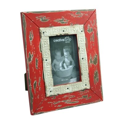Royan 4x6 Inch Distressed Wooden Photo Frame - Red
