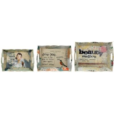 Saint Jacques Set of 3 Trays with Sayings