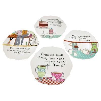 Set of 4 Round Scalloped Edge Stoneware Plates with Saying