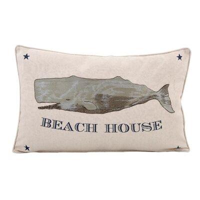 Beach House Cotton and Linen Recutangular Cushion - Whale