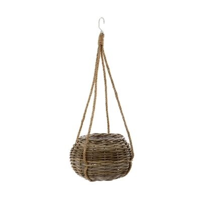 Cancun Rattan Hanging Basket Planter, Small