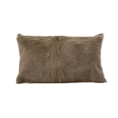 Petra Goat Fur Lumbar Cushion, Taupe