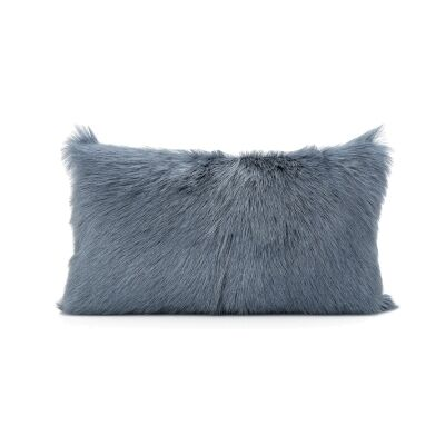 Petra Goat Fur Lumbar Cushion, Grey Blue