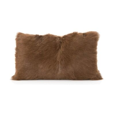 Petra Goat Fur Lumbar Cushion, Brown