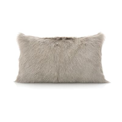 Petra Goat Fur Lumbar Cushion, Grey