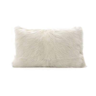 Petra Goat Fur Lumbar Cushion, White