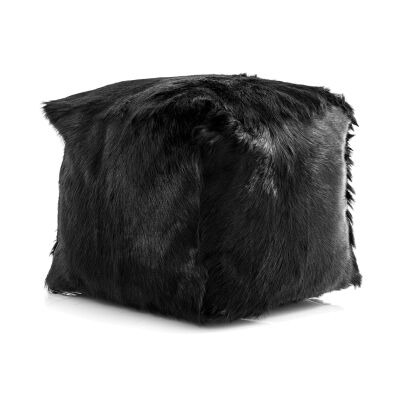 Petra Goat Fur Square Pouf, Black
