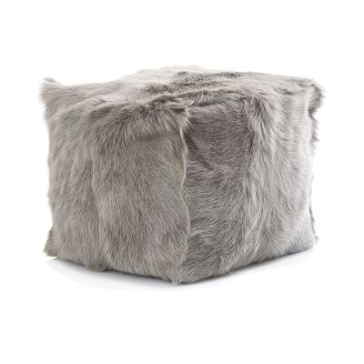 Petra Goat Fur Square Pouf, Grey