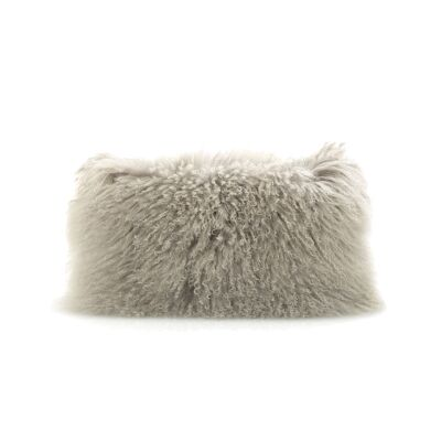 Tibetan Natural Lambswool Lumbar Cushion, Grey