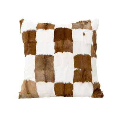 Petra Patchwork Faux Fur Scatter Cushion, Brown / White