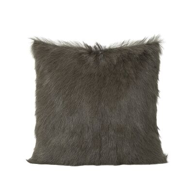 Petra Goat Fur Scatter Cushion, Dark Green