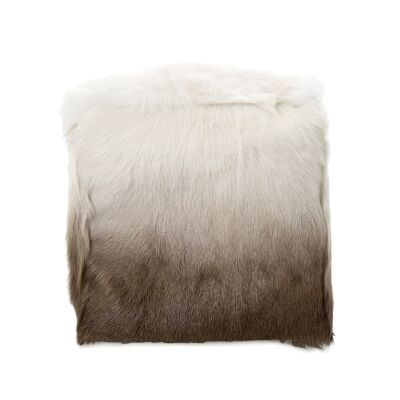 Petra Ombre Faux Fur Square Pouf, Brown / White