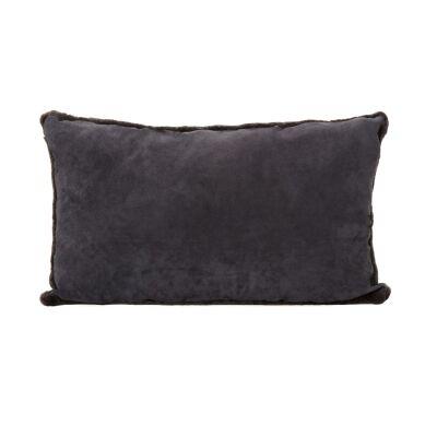 Tibetan Suede Lumbar Cushion, Charcoal