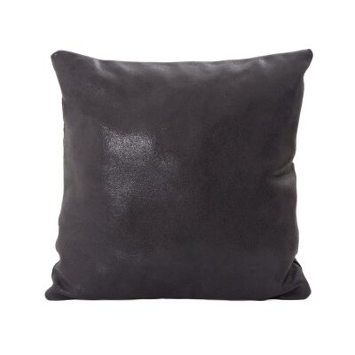 Tibetan Leather Foil Fabric Scatter Cushioin, Charcoal