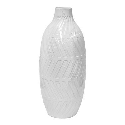 Geo Glazed Clay Vase, Large, White