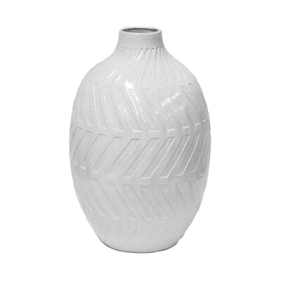 Geo Glazed Clay Vase, Medium, White