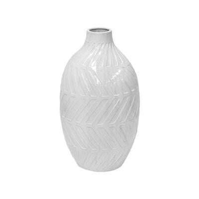 Geo Glazed Clay Vase, Small, White