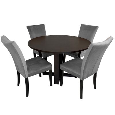 Daniella 5 Piece Round Dining Table Set, 120cm, with Grey Carra Chair